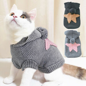 Cat Jumper for Cats Hand Knitted Pet Dog Sweater Puppy Clothes Vest Coat Hoodie
