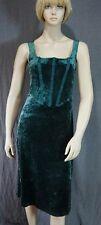 Betsey Johnson Long Panne Velvet Dress Dark Green Bustier Styling Sleeveless