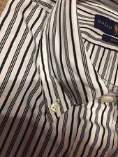 NWT $89 Ralph Lauren Men's M Slim Fit White Black Stripe Button-Down Shirt Pony