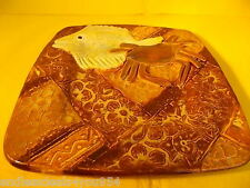 ART STUDIO POTTERY-HAND MADE- SIGNED-ELEVATED 3D-FISH_CRAB & FLOWERS-AMAZING