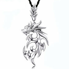 Fashion Men Silver Dragon Stainless Steel Pendant Leather Chain Necklace BYCX110