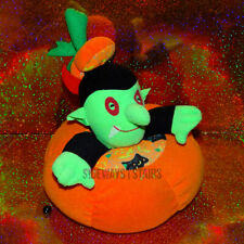 "Handmade Halloween Pumpkin Vampire Stuffed Toy vibrates 80s vintage decor 8"" vtg"