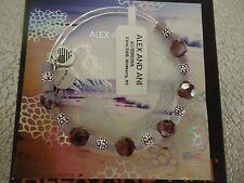 Alex and Ani WILDBERRY CORAL Rafaelian Silver Charm Bangle New W/Tag Card & Box