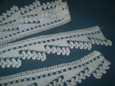 vintage old nahd made knitted lace color white length 83 inch width 2 . 6 inch