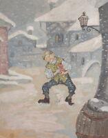 Antique gouache painting fairy - tale illustration