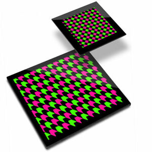 Glass Placemat  & Coaster - Geometric Neon Coloured Arrows  #21362