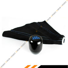 M10 X 1.5 Type-R Style Black Blue 6 Speed Gear Knob + Suede Shift Boot For Honda