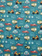2 Metres amazing cartoon car print spun poly fabric strecth crafts top quality