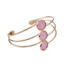 Fashion Women Crystal Quartz Druzy Bracelet Natural Stone Gold Cuff Bangle Gift