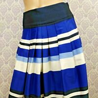 H&M Pleated Full Skirt Womens 6 EUR 36 Blue Striped Twill Cotton Blend Career