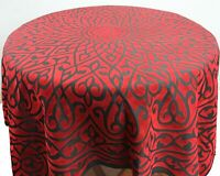 Velvet Printed Table Cover / Table Cloth - Red/ Black
