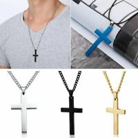 Stainless Steel Cross Pendant Necklace Charm Chain Men Fashion Jewelry Party New