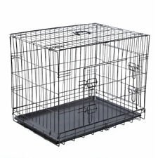 """Dog Puppy Pet Training Cage Collapsible Metal Crate Tray Large / 36"""""""