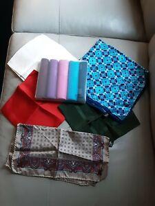 Collection / Job Lot Gent's Handkerchiefs 5 pure silk 5 100% Cotton Brand New