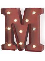 """Lettera """"M"""" Luminosa in Metallo con Lucine a Led 23.5X5X23 cm"""