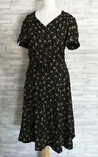 RIVER ISLAND Wrap-Style Jersey Dress Size 16-UK Black/Brown Knee-Length Belt VGC