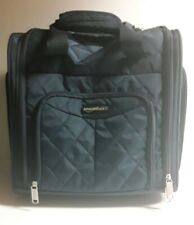 AmazonBasics Quilted Carry-On Rolling Travel Luggage Bag 14 Inches Navy Blue