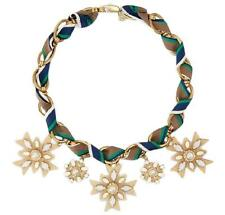 Tory Burch Gold Plated Pearl & Crystal Cross Pendant Statement Necklace