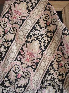 Quilt Antique French Art Nouveau pink blanket black linen back