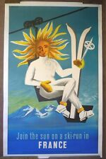 Ski Poster- Vintage French Color Lithograph on Linen