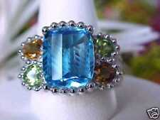 $1,888 STUNNING! 9GR 14K FANCY BARRELL CUT BLUE TOPAZ CITRINE PERIDOT RING