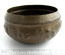 STUNNING 19th.c Mandalay Copper Buddhist Holy Water Blessing Bowl Handmade
