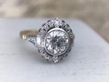 Vintage Yellow/White Art Deco  3.10Ct Engagement Ring Sterling Silver S925