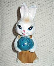 Vintage Boy Bunny Cute Rabbit Figure Statue Holding Easter Egg 1975 Hong Kong