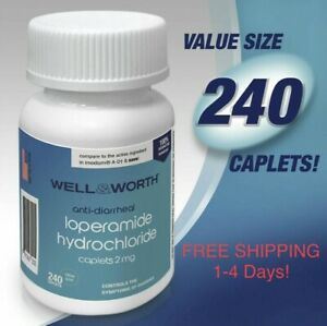Loperamid Anti-Diarrheal 2mg HCL 240 Caplets by WELL & WORTH Made In USA