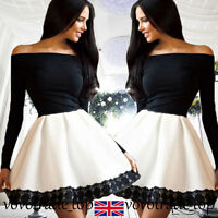 UK Women Ladies Long Sleeve Evening Formal Party Ball Gown Prom Bridesmaid Dress