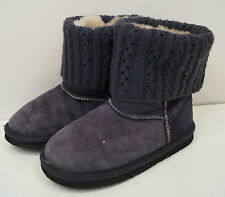 LFA LOVE FROM AUSTRALIA Charcoal Grey Suede Fur Lined Branded Rib Trim Boots UK3