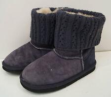LFA MINI LOVE FROM AUSTRALIA Charcoal Grey Suede Fur Lined Rib Trim Boots UK5