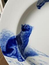 MINTON Cat Series Vtg Blue & White Serving Bowl Cat & Parrot 1873 - 1891 HP
