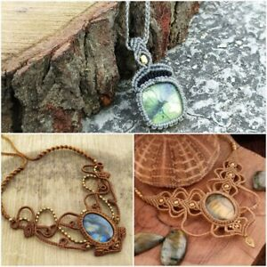 3 Macrame Pendant Labradorite Necklace Jewelry
