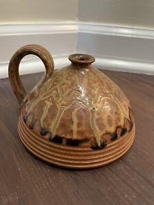 Vintage SIGNED Whynot Studio Art Pottery Seagrove NC Urn Vase Wood Ash Glaze