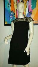 TED BAKER LONDON BLACK  with  gold LACE  DRESS 1 (US 4) $295