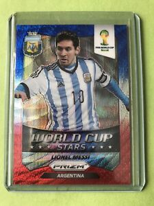 2014 Panini Prizm World Cup Lionel Messi Red White Blue Wave Prizm Refractor SSP