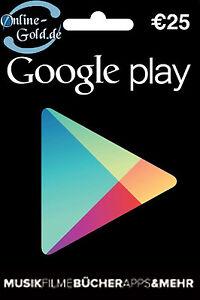 Google Play Card 25 Euro - Store Guthaben/Gutschein Key 25€ Eur Geschenkkarten