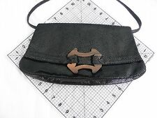 Ananas Italian Lambskin w/ Wood Buckle Clutch Handbag w/Shoulder Strap,