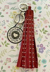Brighton ROCKSTAR Lipstick Red Tassel Silver Keychain Key Fob Purse Charm NWT
