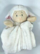"Baby Ganz Lamb Soft Plush White Cuddle Blanket 29"" x 29"" Soft Satin Trim NWT"