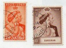 2 Good Cat Value George VI Zanzibar Royal Silver Wedding issues