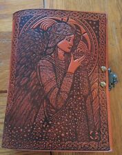 "Leather Journal Book ANGELS with Latch 5"" x 7"" 280 pages Unlined"