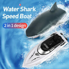 2.4G 2 in 1 Rc Fishing Boat Simulation Shark Remote Control Ship Racing Boat Toy