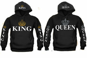 King and Queen Couple matching funny cute Hood Pull Over