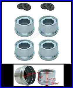"""(4) Trailer 1.98"""" EZ Lube Grease Hub Cover Dust Cap w/Rubber Plug FREE SHIPPING"""