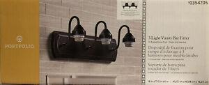 3-Light Vanity bathroom bar fitter Oil Rubbed Bronze wall mount Portfolio 354705
