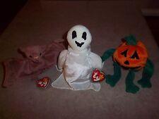 3 - Ty Original Beanie Babies - Halloween - Pumkin - Batty Bat - Sheets Ghost