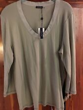 MAGASCHONI JERSEY SCOOP NECK 3/4 SLEEVE GROSGRAIN TRIM KNIT TOP SAGE Size XL NWT
