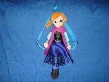 """Disney Frozen Anna Plush Backpack Blue Adjustable Straps Doll is 17"""" tall"""